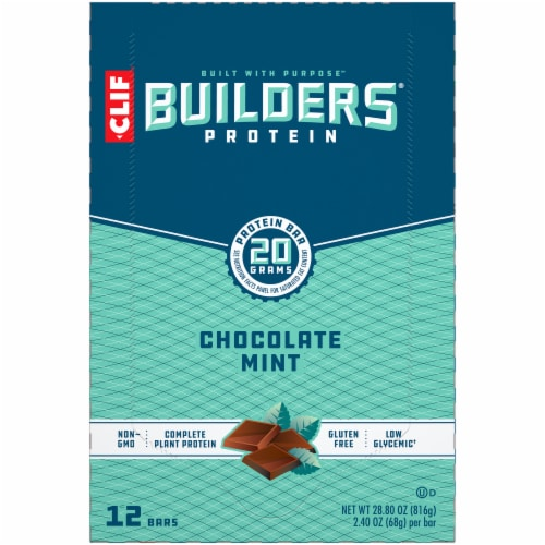 Clif Bar Builders Chocolate Mint Protein Meal Bars Perspective: top