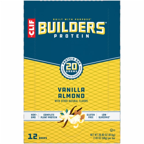 Clif Bar Builders Vanilla Almond Protein Meal Bars Perspective: top