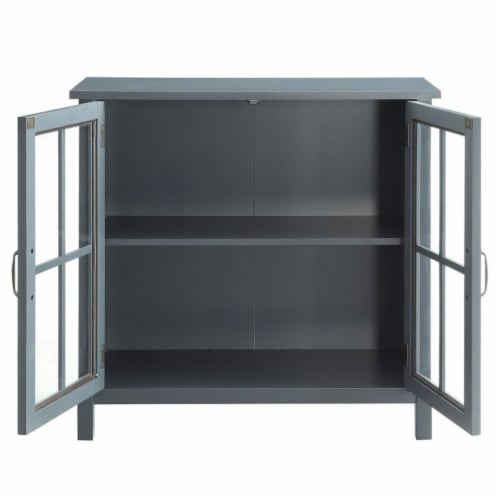 Belray Home Storage Accent Cabinet with Glass Doors and Adjustable Shelf, Gray Perspective: top