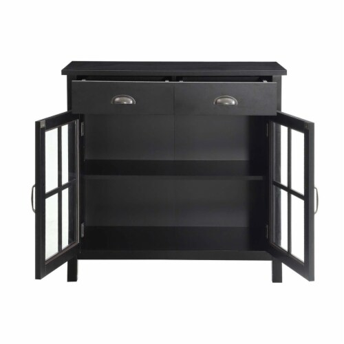 Belray Home Accent Glass Door Cabinet with Drawers and Adjustable Shelf, Black Perspective: top