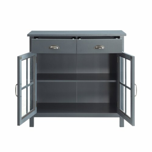 Belray Home Accent Glass Door Cabinet with Drawers and Adjustable Shelf, Gray Perspective: top