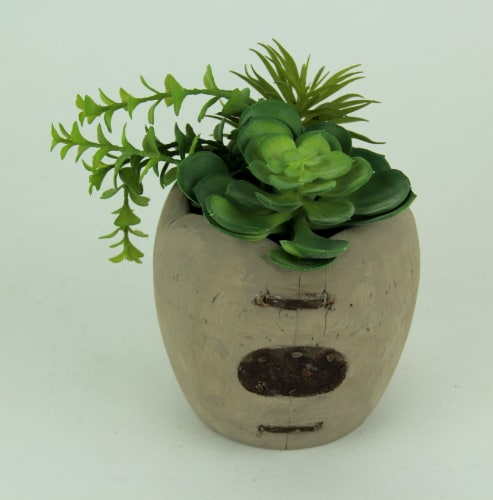 Artificial Succulents in Rustic Apple Shaped Wood Planter Perspective: top