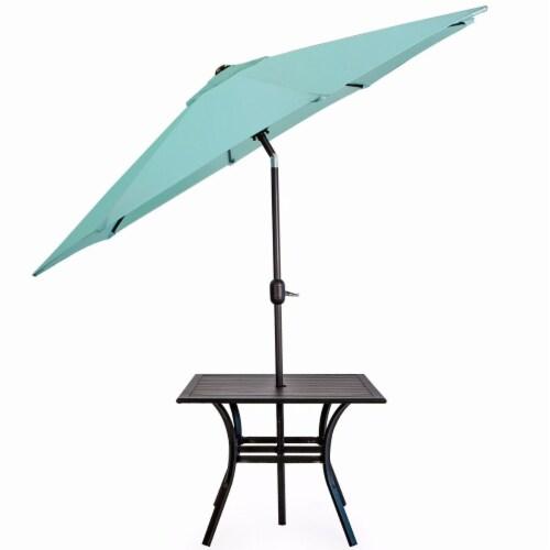 9Ft Outdoor Patio Umbrella Market Table Yard Garden w/ Crank Tilt, Aqua Perspective: top