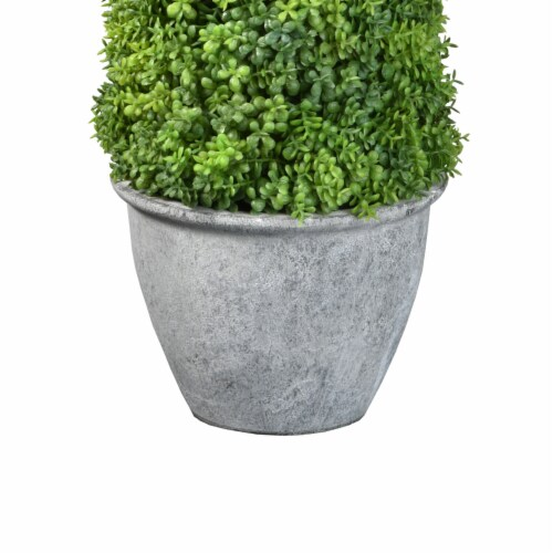 National Tree Company 16 Inch Cone Topiary Artificial Plant w/ Gray Ceramic Pot Perspective: top