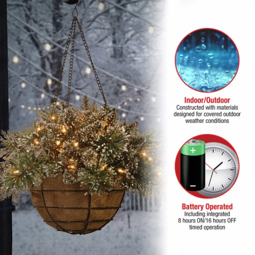 National Tree Company 20  Prelit Artificial Christmas Decor Pine Hanging Basket Perspective: top