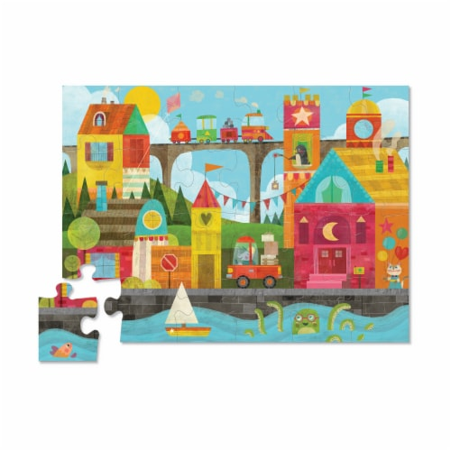 Crocodile Creek® Early Learning Shape Town Floor Puzzle Perspective: top