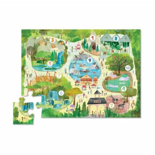 Crocodile Creek® Early Learning 123 Zoo Floor Puzzle Perspective: top