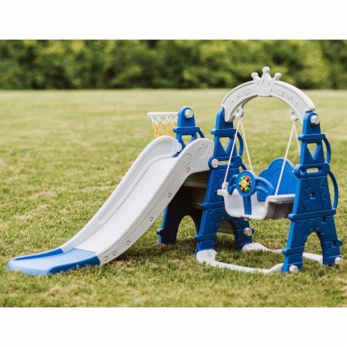 TR LAYNE Indoor/Outdoor Kids 4 Function Slide, Baby Swing & Basketball Hoop Combo. Perspective: top