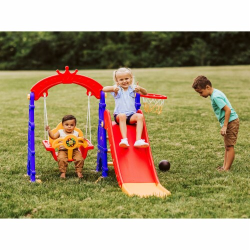 TR LAYNE Indoor/Outdoor Kids 4 Function Slide, Baby Swing & Basketball Hoop Combo. Perspective: top