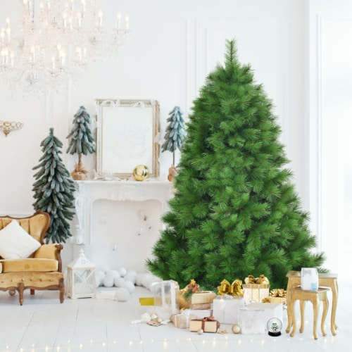 Costway 6 ft Hinged Artificial Christmas Tree Holiday Decoration w/ Foldable Metal Stand Perspective: top
