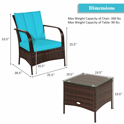 Costway 3 PCS Patio Wicker Rattan Furniture Set Coffee Table & 2 Rattan Chair W/Cushions-Turq Perspective: top