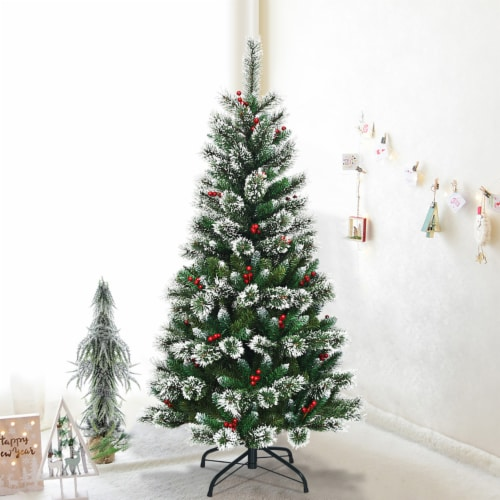 Costway 5 ft Snow Flocked Artificial Christmas Hinged Tree w/ Pine Needles & Red Berries Perspective: top