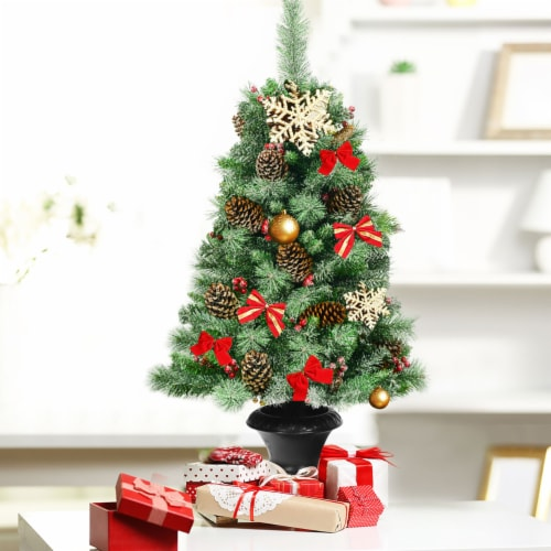 Costway Set of 2 Christmas Entrance Tree 4ft w/Pine Cones Red Berries & Glitter Branches Perspective: top