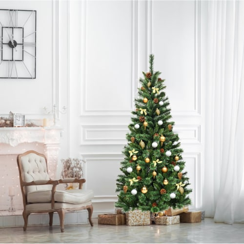 Costway 6 ft Premium Hinged Artificial Christmas Tree Mixed Pine Needles w/ Pine Cones Perspective: top