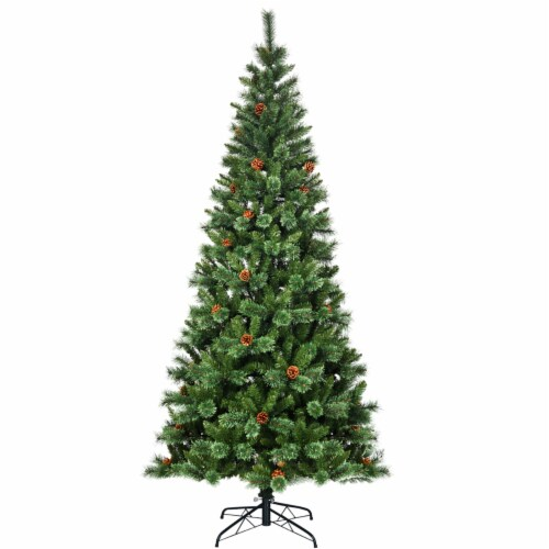 Costway 8 ft Premium Hinged Artificial Christmas Tree Mixed Pine Needles w/ Pine Cones Perspective: top