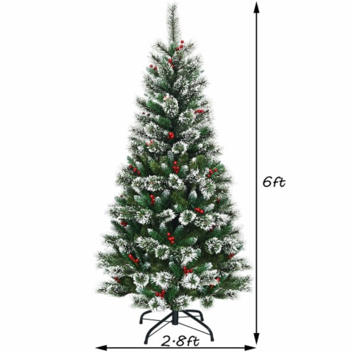 Costway 6 ft Snow Flocked Artificial Christmas Hinged Tree w/ Pine Needles & Red Berries Perspective: top