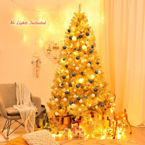 Costway 7.5ft Artificial Tinsel Christmas Tree w/1258 Tips Foldable Stand Champagne Gold Perspective: top