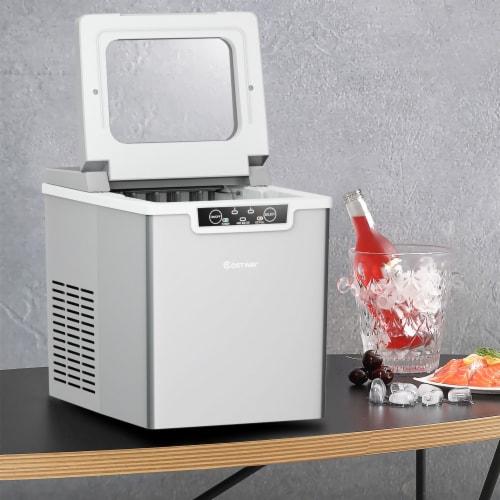 Costway Ice Maker Machine Countertop 26Lbs/24H Portable W/Scoop & Basket Silver Perspective: top