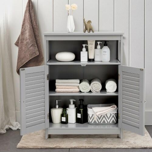 Costway Bathroom Storage Cabinet Wood Floor Cabinet w/ Double Shutter Door Gray Perspective: top