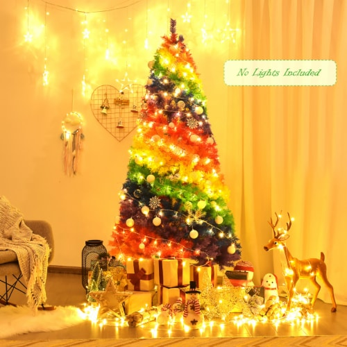 Costway 7FT Artificial Hinged Colorful Rainbow Full Fir Christmas Tree with 1213 Tips Perspective: top
