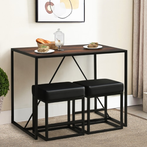 Costway 3pcs Dining Set Metal Frame Kitchen Table and 2 Stools Home Breakfast Perspective: top