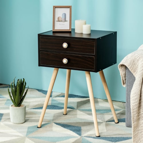 Costway Mid Century Modern 2 Drawers Nightstand Sofa Side Table End Table Espresso Perspective: top