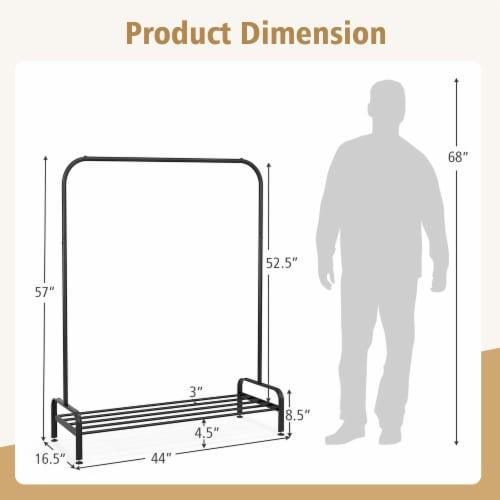 Costway Industrial Metal Garment Rack Heavy Duty Floor Cloth Rack w/ Shoe Storage Shelf Perspective: top