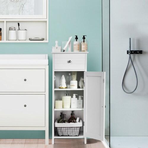 Costway Bathroom Floor Cabinet Wooden Storage Organizer Free-Standing w/ Drawer & Shelf Perspective: top