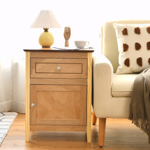 Costway Nightstand with Drawer Accent Side End Table Storage Cabinet Natural Perspective: top