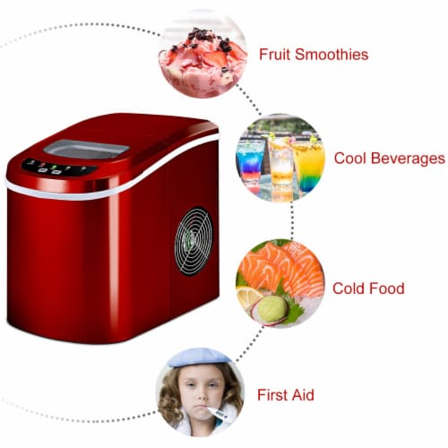Costway Red Portable Compact Electric Ice Maker Machine Mini Cube 26lb/Day Perspective: top