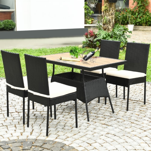 Costway 5 PCS Patio Rattan Furniture Set Wood Top Table Cushioned Chairs Garden Yard Deck Perspective: top