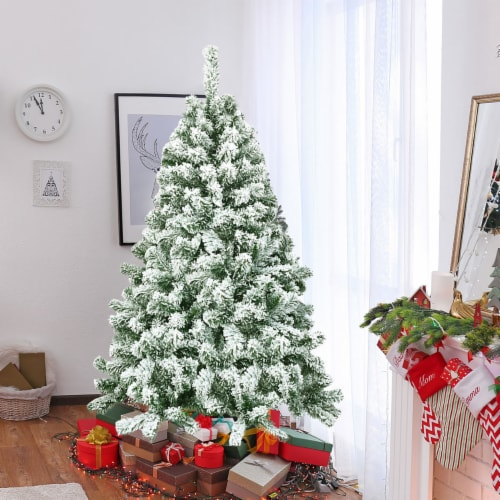 Costway 4.5FT Snow Flocked Artificial Christmas Tree Hinged w/400 Tips and Foldable Base Perspective: top
