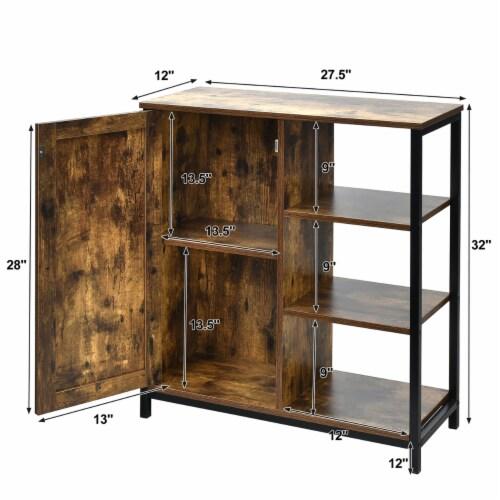 Costway Storage Cabinet Multipurpose Freestanding Cupboard w/3 Open Shelf & Door Perspective: top