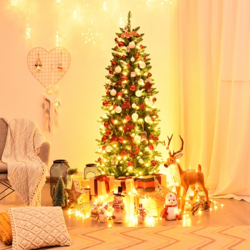 Costway 6Ft Pre-lit Artificial Pencil Christmas Tree Hinged Fir PVC Tree /250 LED Lights Perspective: top