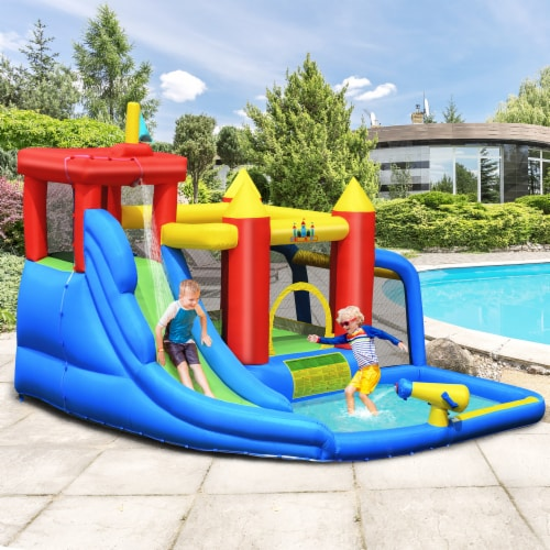 Costway Inflatable Bouncer Water Slide Bounce House Splash Pool without Blower Perspective: top