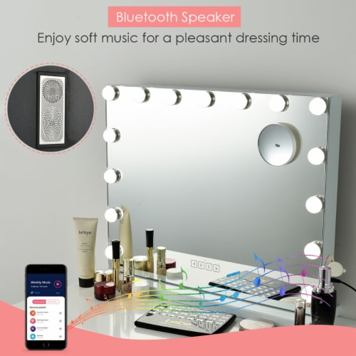 Costway Hollywood Vanity Lighted Mirror Touch Control Magnification  Speaker Perspective: top