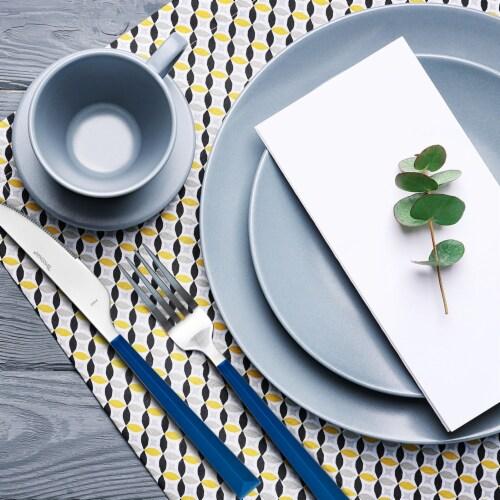 Hampton Forge Tomodachi Dali Flatware Set - Estate Blue/Silver Perspective: top