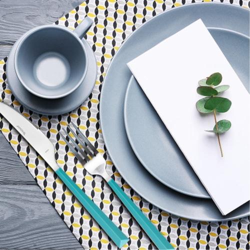 Hampton Forge Tomodachi Dali Flatware Set - Turquoise/Silver Perspective: top