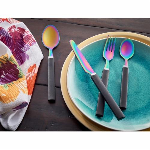 Hampton Forge Tomodachi Flatware Set - Rainbow Titanium Perspective: top