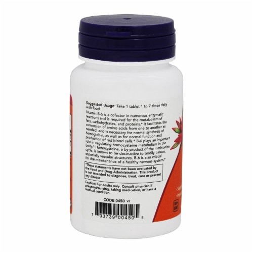 NOW Foods B-6 50mg Tablets Perspective: top