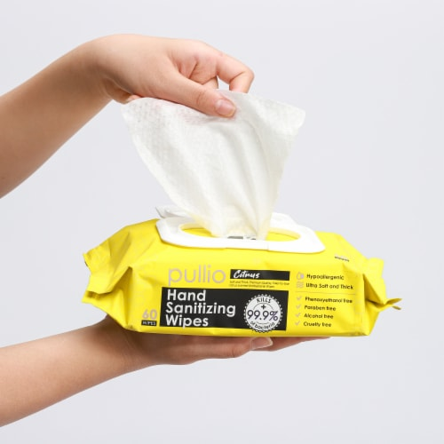 pullio - 3 Packs of Hand Sanitizer Citrus Wet Wipes 60ct - Antibacterial Hand  Wipes Perspective: top