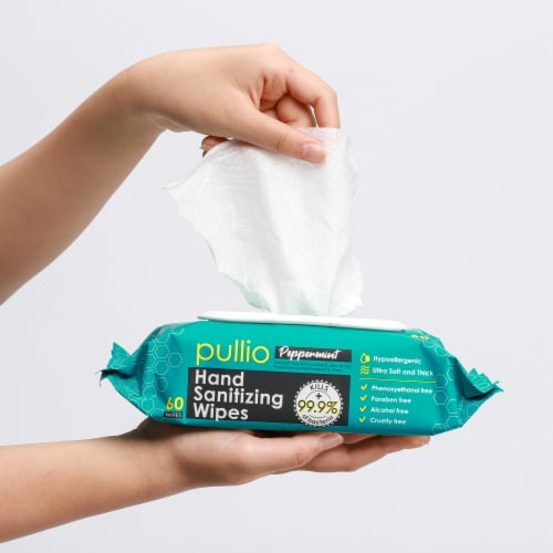 pullio - 3 Packs of Hand Sanitizer Wet Wipes 60ct - Peppermint Antibacterial Hand  Wipes Perspective: top