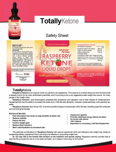 Raspberry Ketones Drops with Green Tea and African Mango Perspective: top