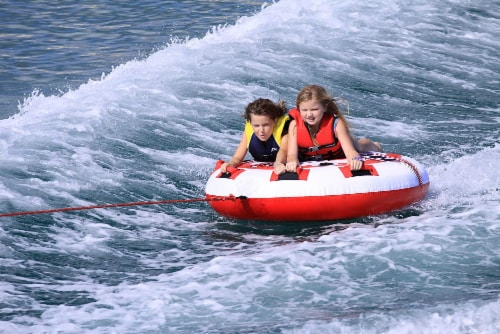Airhead AHHS-12 Hot Shot 2 Inflatable Round Deck Single Rider Towable Lake Tube Perspective: top