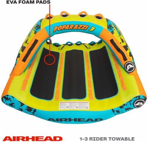 Airhead AHPZ-1750 Poparazzi 3 Person Inflatable Towable Water Lake Boating Tube Perspective: top