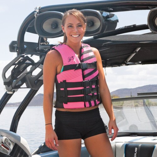 Airhead Trend Life Jacket Vest for Kayaking & Boating, Adult 2-3XL (Pink/Black) Perspective: top