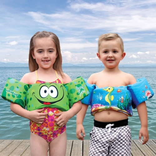 Airhead Water Otter Premium Kids Child Life Jacket Vest with Arm Bands, Frog Perspective: top