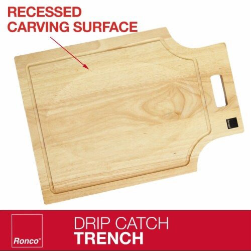 Ronco Carving Board Set, With Drip Catch Stainless Steel Carving Knife and Fork Perspective: top