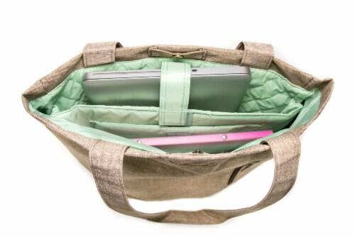 Everest Laptop & Tablet Tote Bag - Tan/Dark Brown Perspective: top