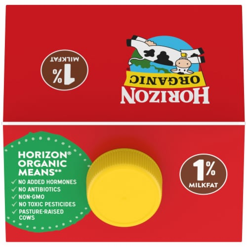 Horizon Organic DHA Omega-3 1% Chocolate Lowfat Milk Perspective: top